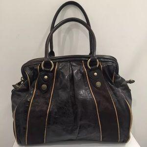 Cynthia Rowley Brown Leather & Calf Hair Fur Bag